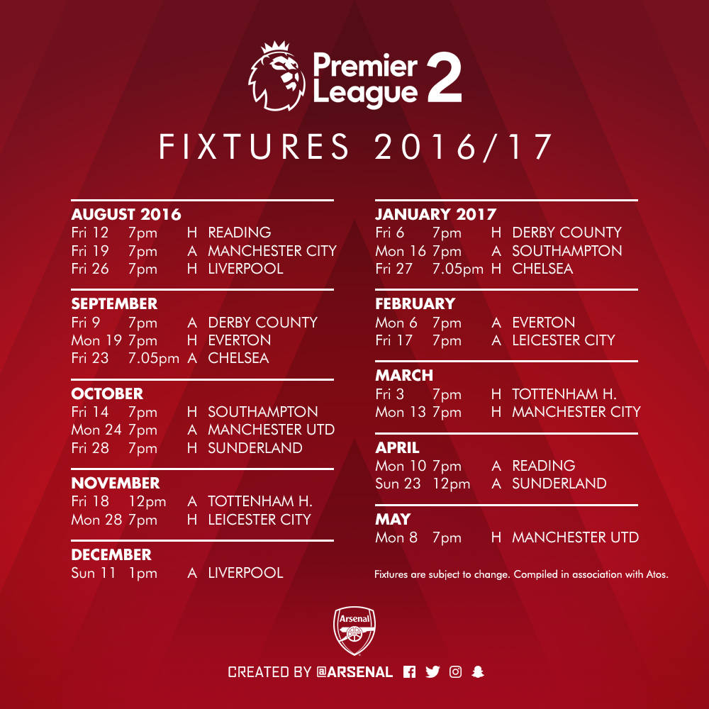 arsenal under23s� fixtures announced news arsenalcom