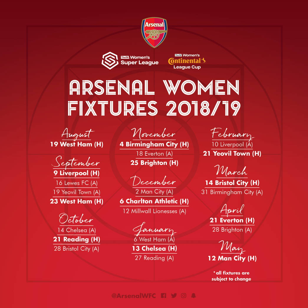 arsenal women�s 201819 fixtures announced news