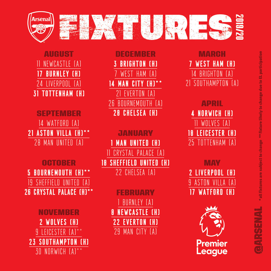 New Premier League fixtures 2019/20