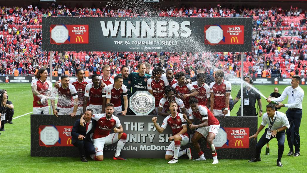 Arsenal Celebrate Winning The Community Shield