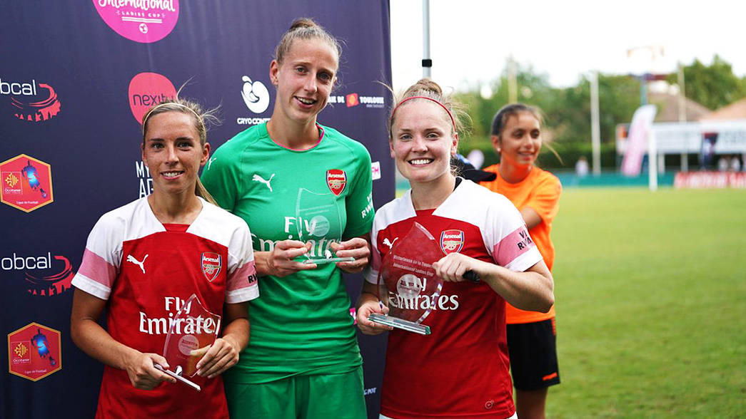 Arsenal Women lift their trophies