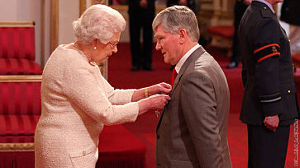 Pat Rice receives his MBE