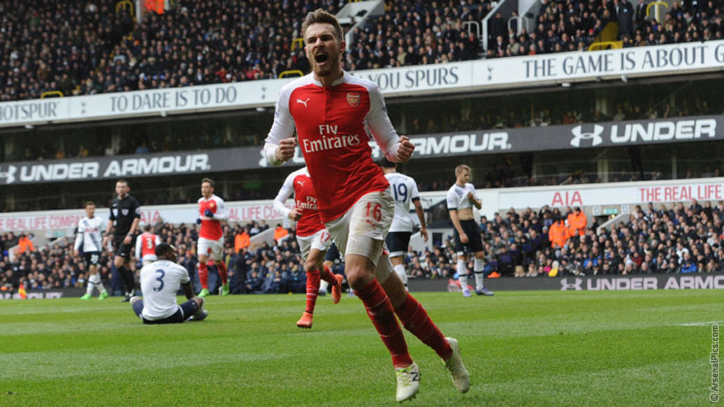 Aaron Ramsey celebrates scoring at White Hart Lane