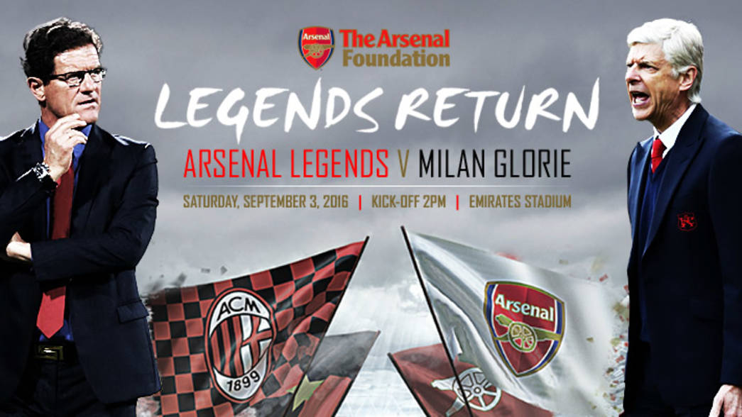 Arsenal Legends vs Milan Glorie will be broadcast live on Arsenal.com