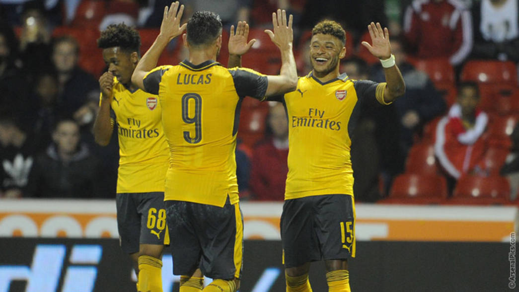 Lucas and Alex Oxlade-Chamberlain celebrate