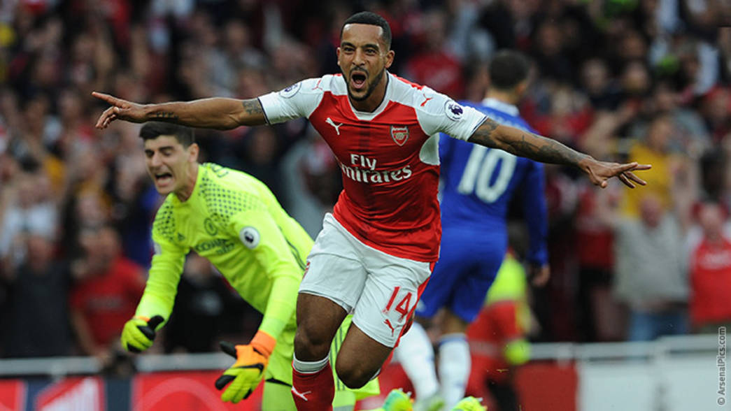 Theo celebrates his goal against Chelsea