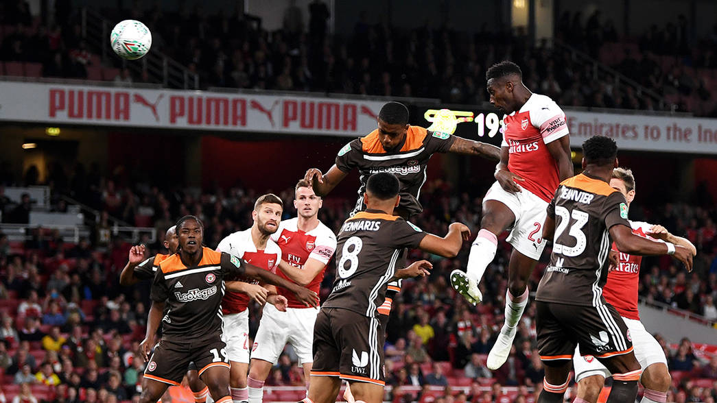 Danny Welbeck heads in the opening goal