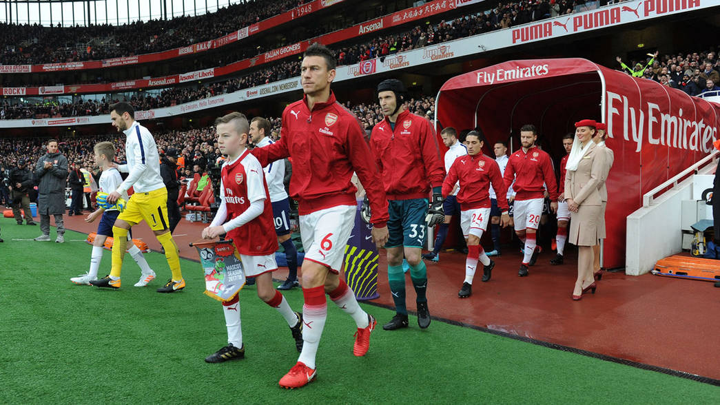 Laurent Koscielny leads us out against Tottenham Hotspur