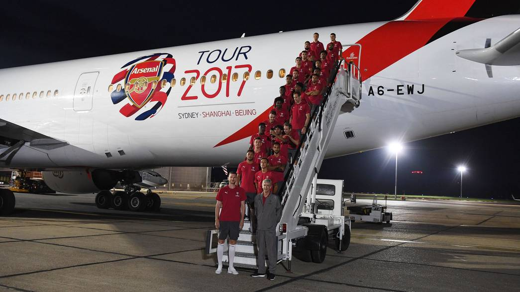 Squad Board Emirates Plane For Sydney
