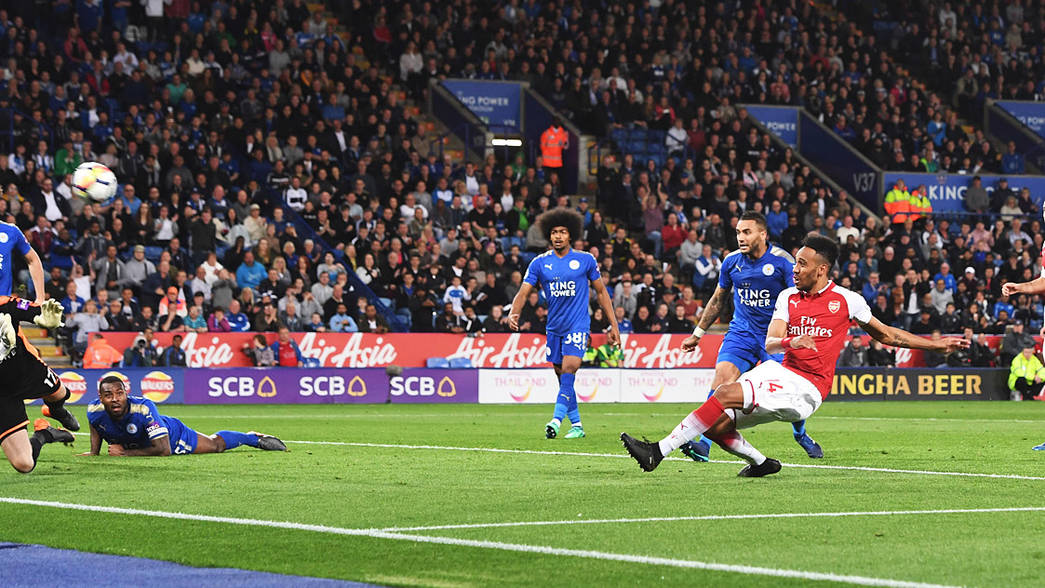 Pierre-Emerick AUbameyang scores at Leicester City