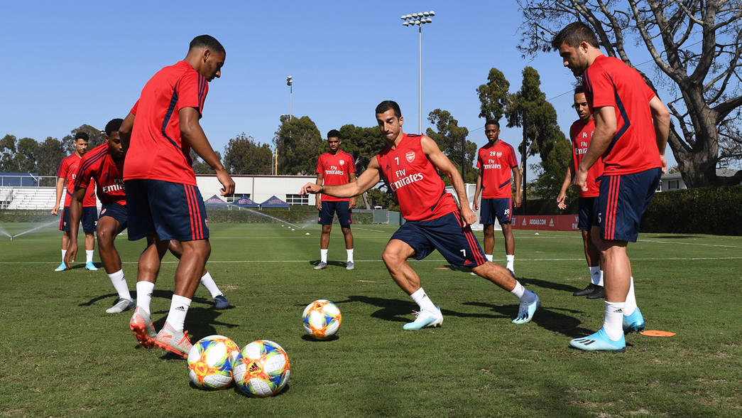 Arsenal train in LA on the evening of July 12