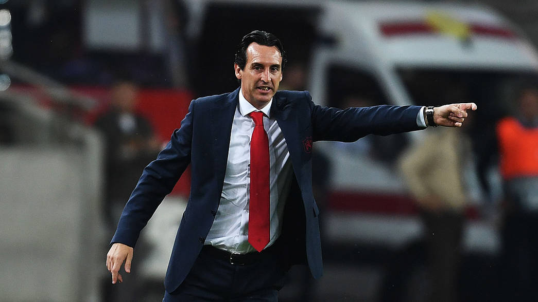 Unai Emery during the Europa League match away against Qarabag
