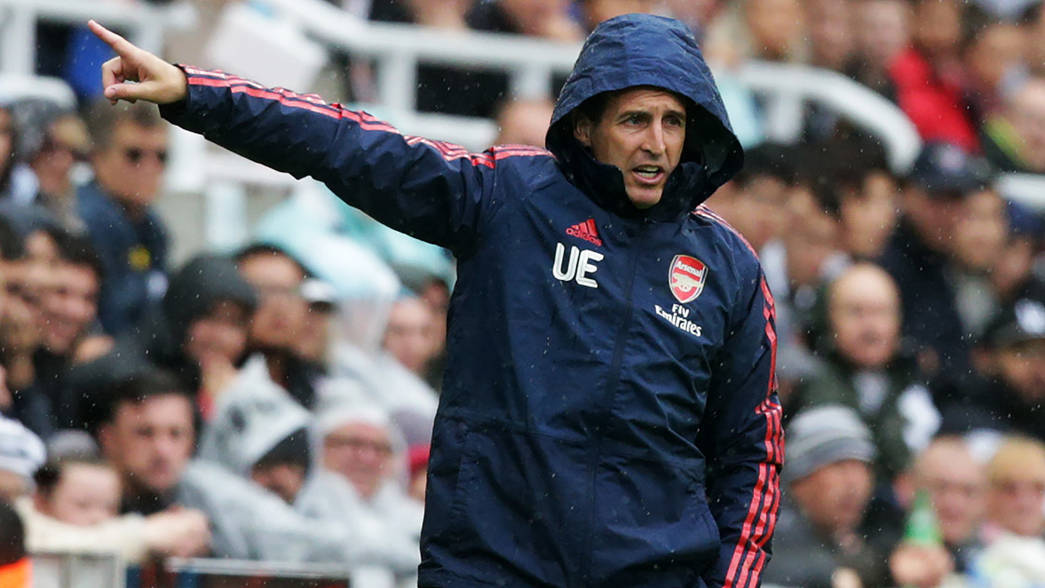 Unai Emery on the touchline at St James' Park