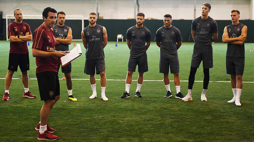 Unai Emery takes charge of his first Arsenal training session