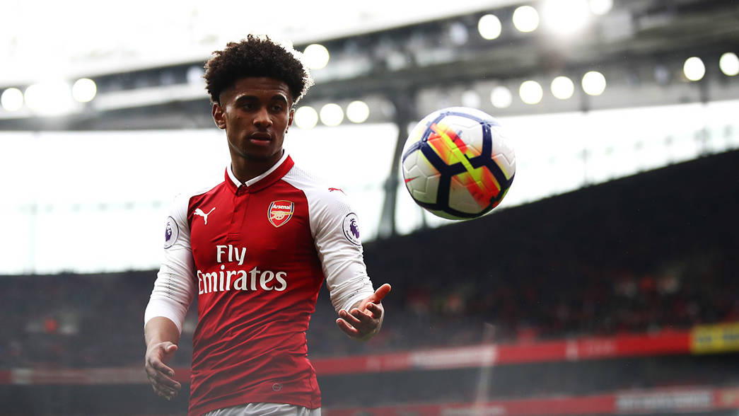 Reiss Nelson on his full Premier League debut, against Southampton in April 2018