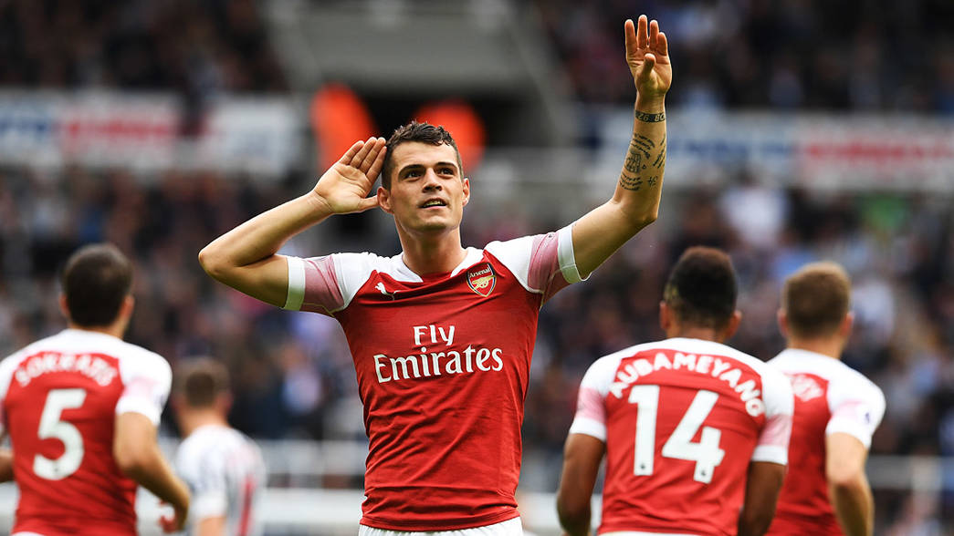 Granit Xhaka celebrates his goal against Newcastle