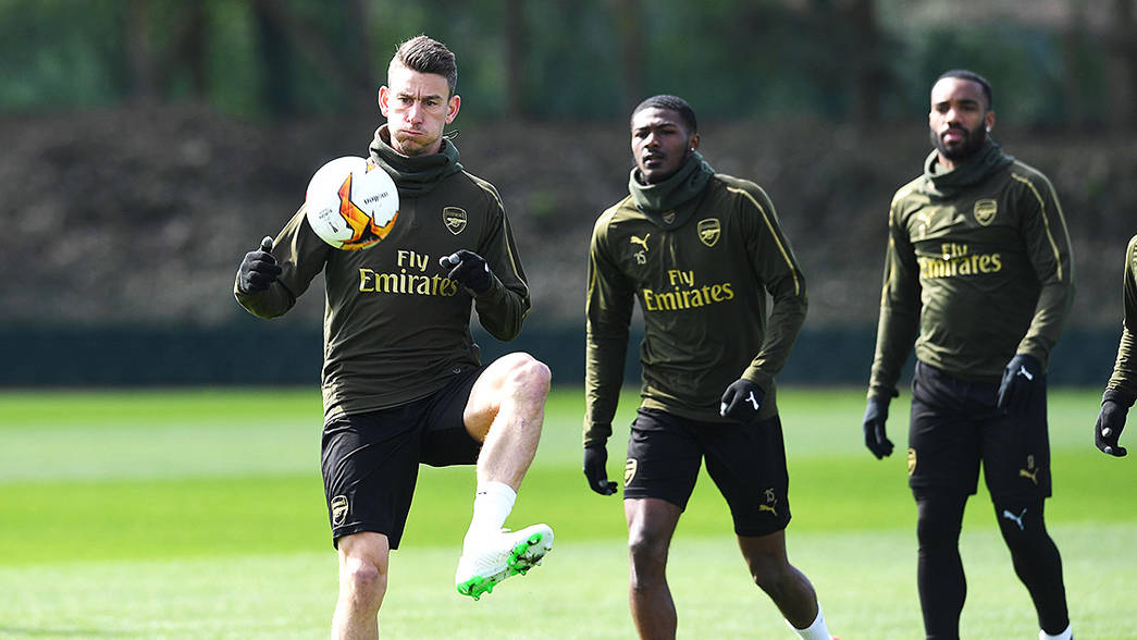 Koscielny and Xhaka train