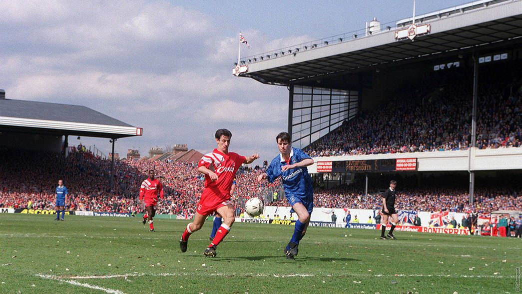 Liverpool play Portsmouth in the FA Cup Semi-Final at Highbury in 1992