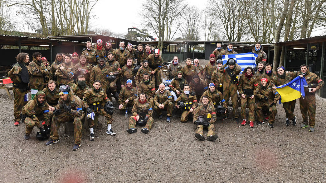 The Arsenal squad paintballing