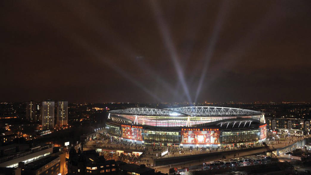 Emirates Stadium with spotlights