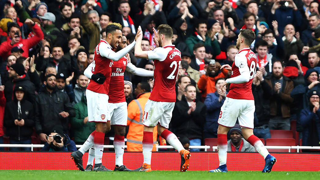 Arsenal celebrate against Stoke