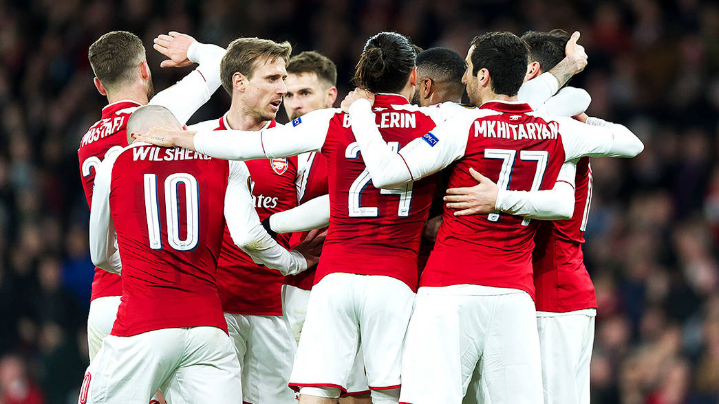 Arsenal celebrate against CSKA
