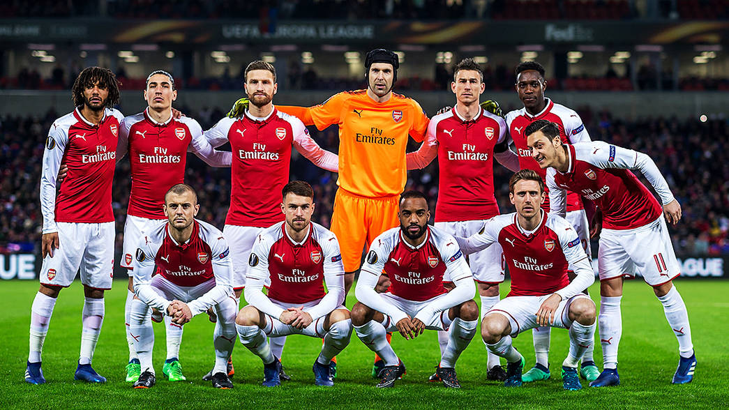 Arsenal team line up against CSKA