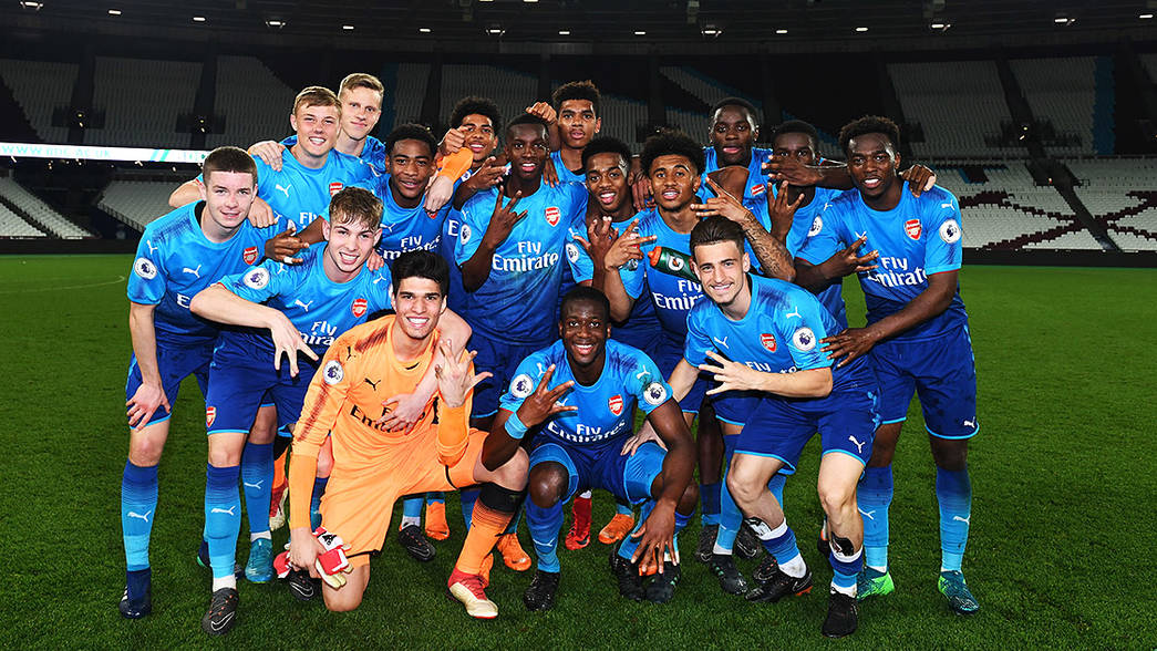 Arsenal Under-23s celebrate winning the league