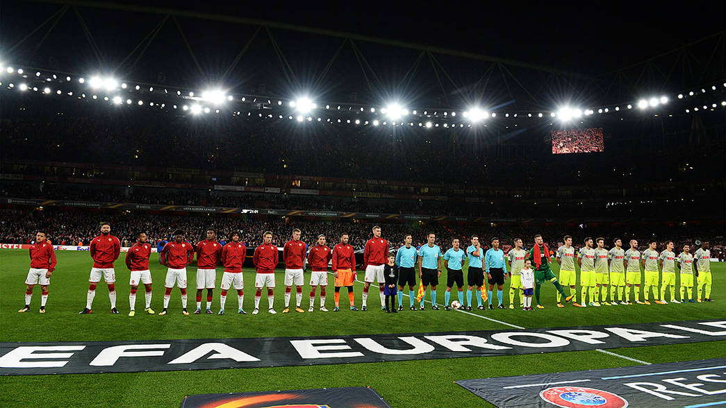 The team line up ahead of Cologne