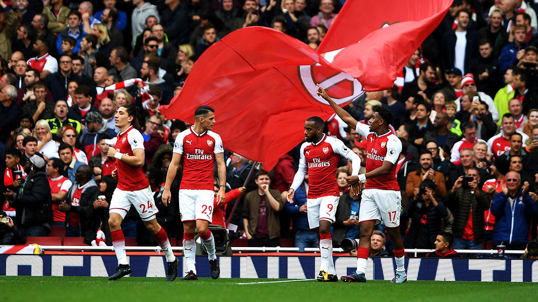 Arsenal celebrate against Brighton