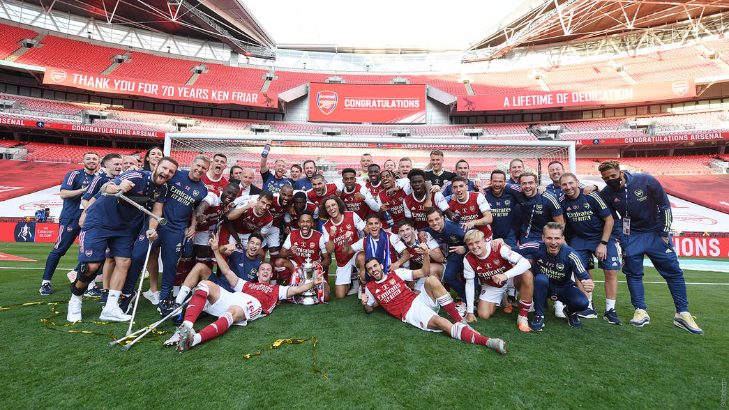 Arsenal celebrate at Wembley after winning the FA Cup