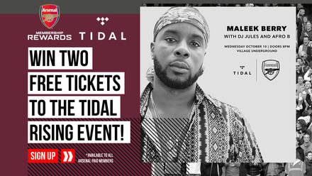 Your New and Exclusive Offer From TIDAL | News | Arsenal com